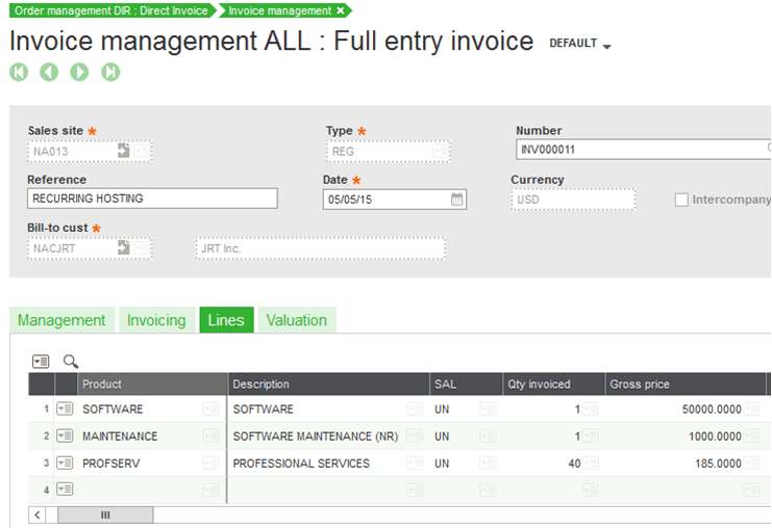 Sage X3 Direct Invoice