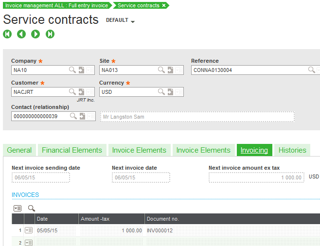 Sage X3 Service Contract History