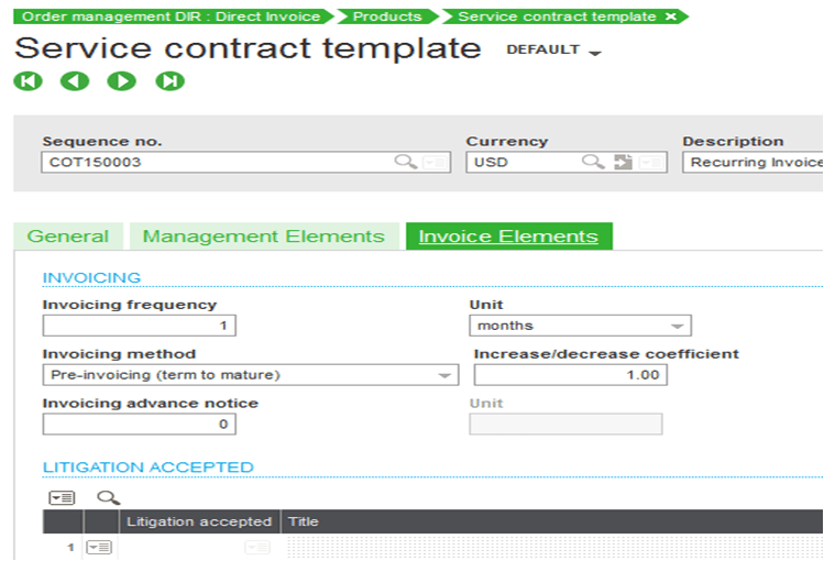 Sage X3 Service Contract Invoice Elements