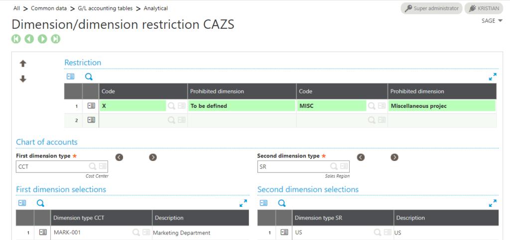 Sage X3 Restriction dimension relationships