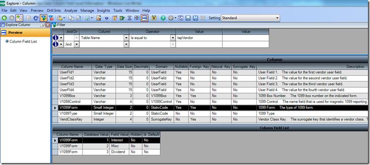 Sage 500 ERP BI View Data Column Field Level Information