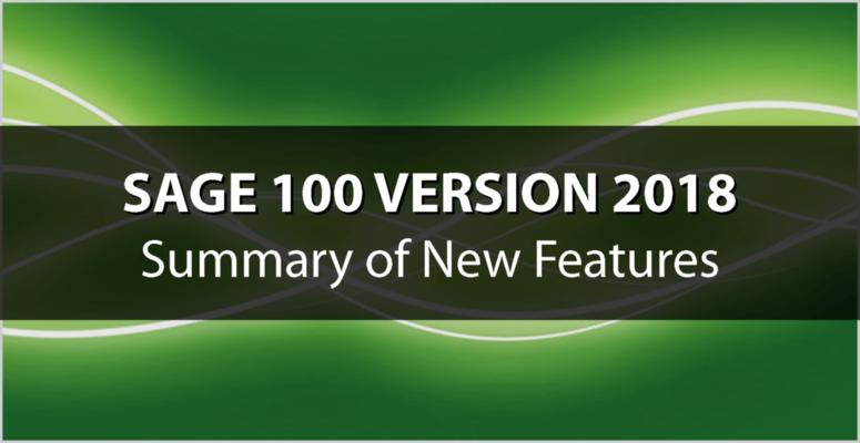 Introducing Sage 100 2018