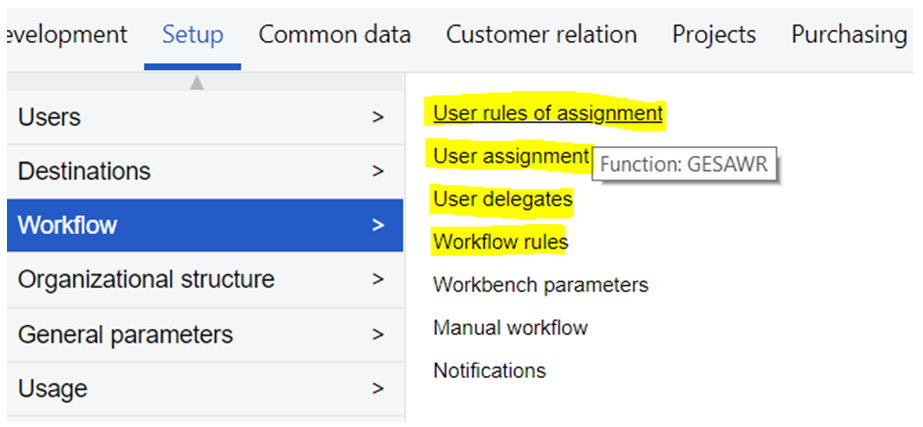 Sage X3 Workflow Rules Assignment