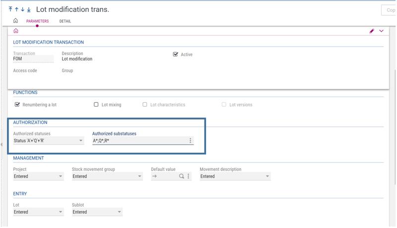 Lot Modification Transaction