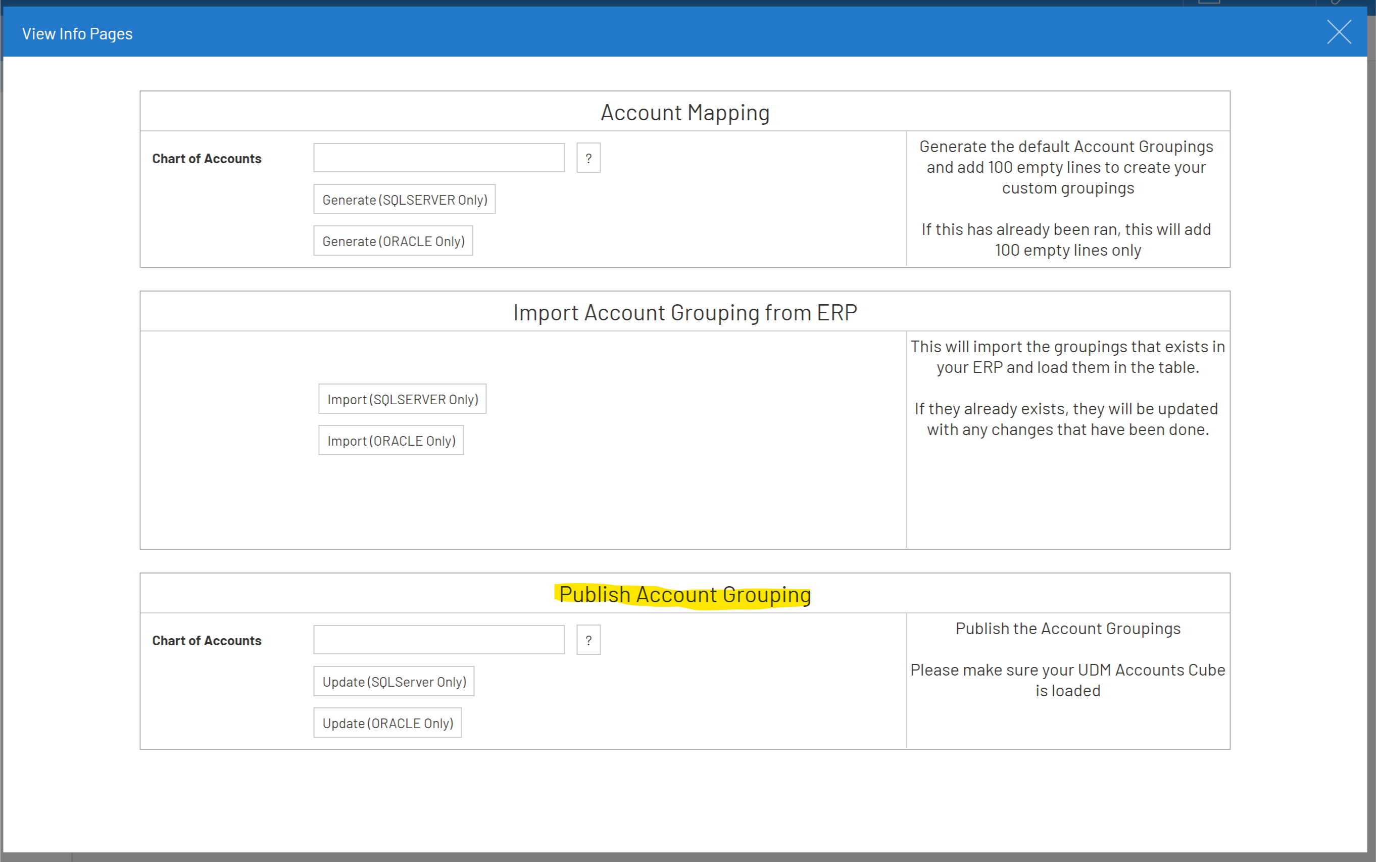 Report Account Mapping data model view