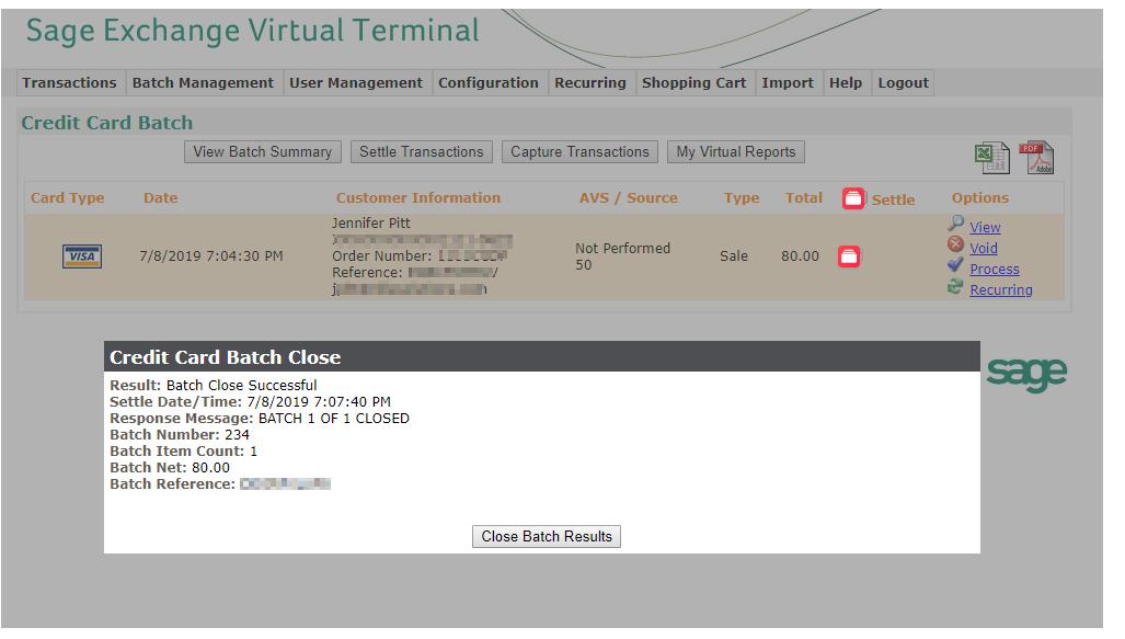 Virtual Terminal Settlement