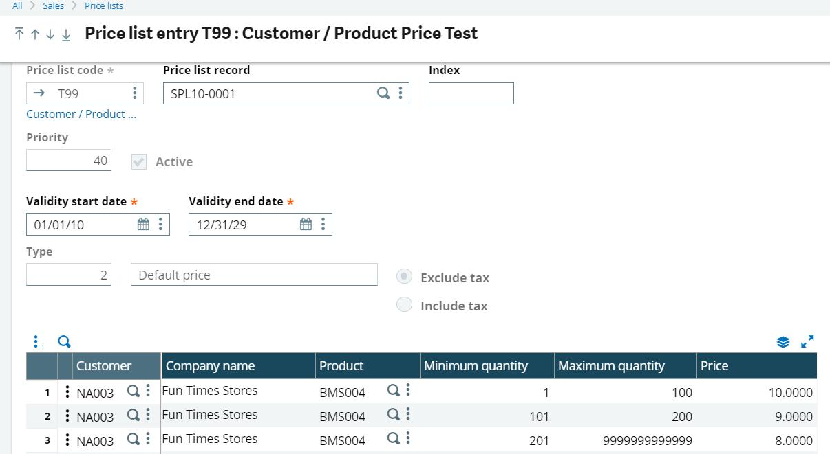 X3 Price LIst Entry Example