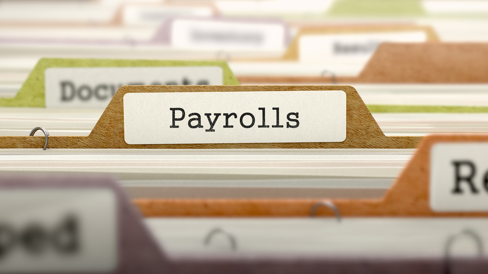 Payrolls - Folder Register Name in Directory. Colored, Blurred Image. Closeup View. 3D Render-1